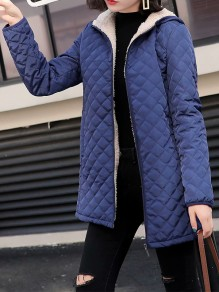 Blue Patchwork Zipper Pockets Hooded Fashion Jacket