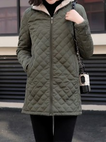 Green Patchwork Zipper Pockets Hooded Fashion Jacket
