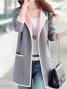 Grey Patchwork Pockets Plus Size Long Sleeve Going out Jacket