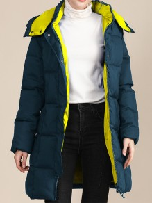 Green Patchwork Zipper Pockets Band Collar Going out Padded Coat