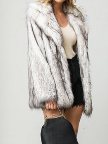 White Patchwork Plus Size Fur Collar Going out Fur Coat