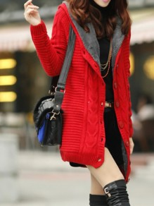 Red Patchwork Buttons Long Sleeve Hooded Going out Jacket