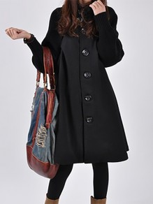 Black Patchwork Buttons Plus Size Band Collar Going out Wool Coat