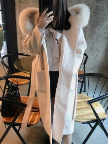 Beige Patchwork Pockets Belt Hooded Going out Wool Coat
