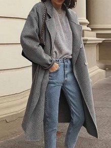 Grey Patchwork Buttons Turndown Collar Going out Wool Coat