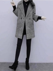 Black Plaid Buttons Pockets Turndown Collar Going out Wool Coat