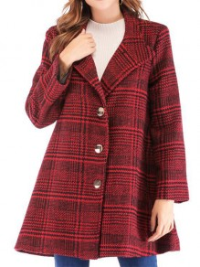 Red Plaid Buttons Turndown Collar Going out Wool Coat