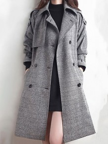 Grey Plaid Buttons Pockets Blet Tailored Collar Going out Coat