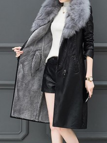 Black-Grey Patchwork Zipper Fur Collar Going out Leather Coat