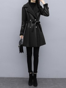 Black Patchwork Pockets Blet Plus Size Turndown Collar Going out Leather Coat