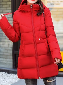 Red Patchwork Zipper Pockets Hooded Fashion Padded Coat