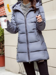 Grey Patchwork Zipper Pockets Hooded Fashion Padded Coat