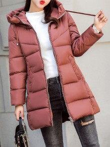 Coffee Patchwork Zipper Pockets Hooded Fashion Padded Coat