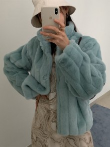 Green Patchwork Band Collar Going out Fur Coat