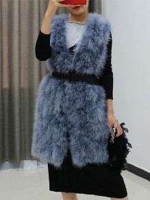 Grey Patchwork Sleeveless Going out Fur Coat