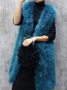 Blue Patchwork Sleeveless Going out Fur Coat