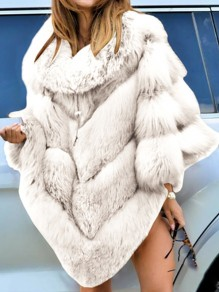 White Patchwork Fur Collar Going out Fur Coat