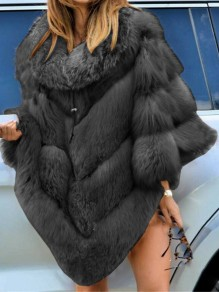 Black Patchwork Fur Collar Going out Fur Coat