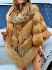 Brown Patchwork Fur Collar Going out Fur Coat