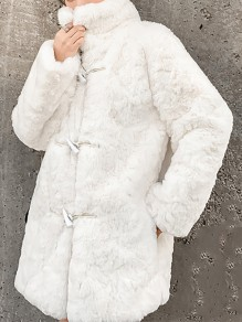 White Patchwork Buttons Pockets Turndown Collar Going out Coat