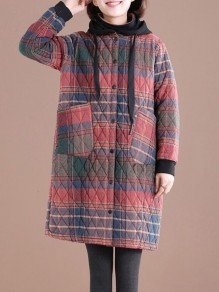 Multicolor Plaid Pockets Hooded Fashion Padded Coat