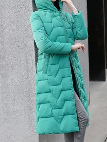 Green Patchwork Zipper Pockets Hooded Going out Padded Coat