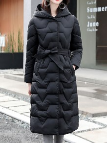 Black Patchwork Zipper Pockets Hooded Going out Padded Coat