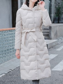 White Patchwork Zipper Pockets Hooded Going out Padded Coat