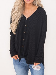 Black Patchwork Buttons V-neck Streetwear Cardigan Sweater