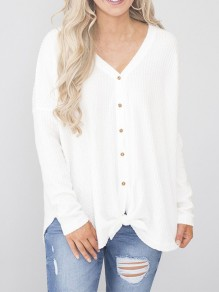 White Patchwork Buttons V-neck Streetwear Cardigan Sweater