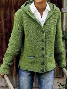 Green Patchwork Buttons Pockets Fashion Hooded Cardigan Sweater