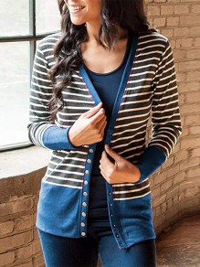 Blue Striped Print Long Sleeve Going out Cardigan Sweater
