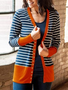 Orange Striped Print Long Sleeve Going out Cardigan Sweater
