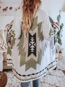 Beige Geometric Print Long Sleeve Going out Cardigan Sweater