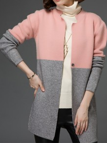 Pink-Grey Patchwork Buttons Long Sleeve Fashion Cardigan Sweater