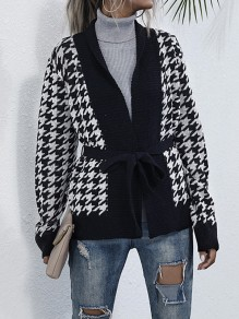 Black Plaid Belt Long Sleeve Fashion Sweater Cardigan