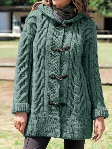 Green Patchwork Buttons Hooded Fashion Cardigan Sweater
