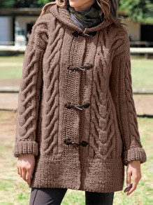 Coffee Patchwork Buttons Hooded Fashion Cardigan Sweater