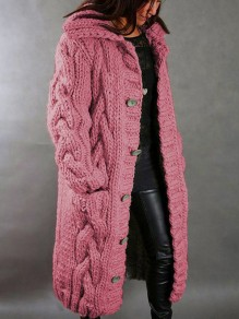 Pink Patchwork Buttons Pockets Hooded Fashion Cardigan Sweater