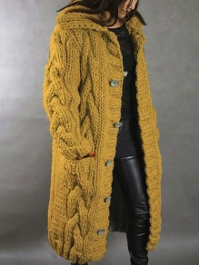 Yellow Patchwork Buttons Pockets Hooded Fashion Cardigan Sweater