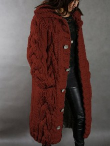 Red Patchwork Buttons Pockets Hooded Fashion Cardigan Sweater