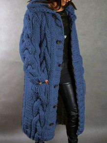 Blue Patchwork Buttons Pockets Hooded Fashion Cardigan Sweater