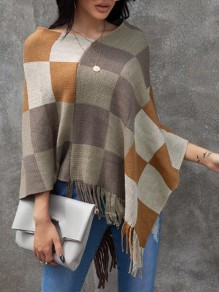 Brown Plaid Irregular Tassel Cape Casual Pullover Sweater
