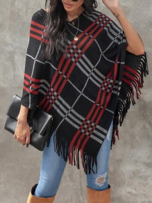 Black-Red Plaid Irregular Tassel Christmas Cape Casual Pullover Sweater