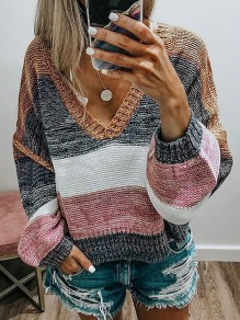 Khaki Patchwork Color Block V-neck Long Sleeve Sweater Pullover