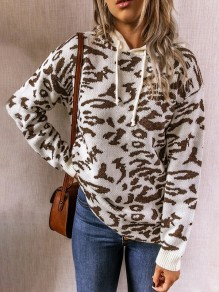 Beige Leopard Pattern Hooded Fashion Sweater Pullover
