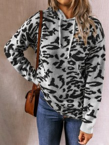 Grey Leopard Pattern Hooded Fashion Sweater Pullover