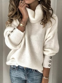 White Solid Color Buttons High Neck Fashion Sweaters Pullover