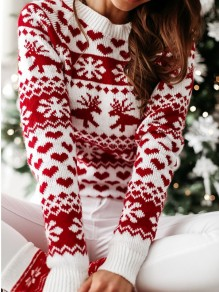 White Elk Print Christmas Round Neck Long Sleeve Pullover Sweater