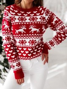 Red Elk Print Christmas Round Neck Long Sleeve Pullover Sweater